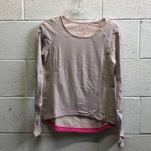 Lululemon pink l/s stripe top sz 6 63705